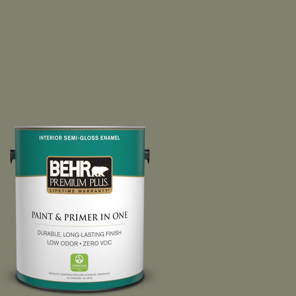1 gal. #PPU10-18 Lizard Green Zero VOC Semi-Gloss Enamel Interior Paint