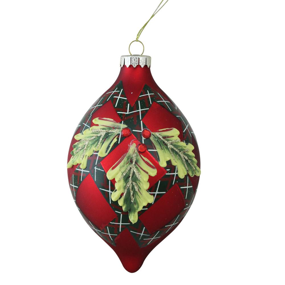 120 mm holiday moments geometric plaid mistletoe finial glass christmas