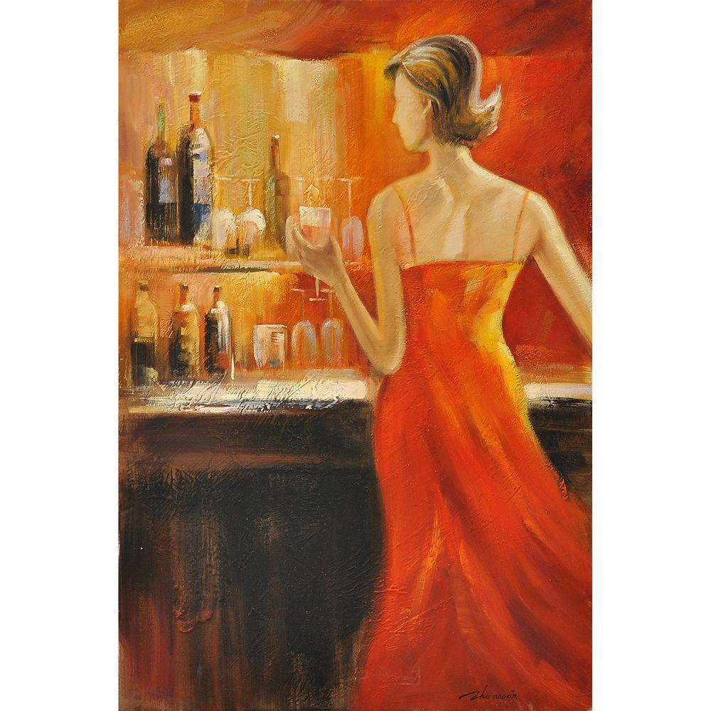 """Yosemite Home Decor 36 in. x 24 in. """"Lady's Night II"""" Hand Painted Canvas Wall Art"""