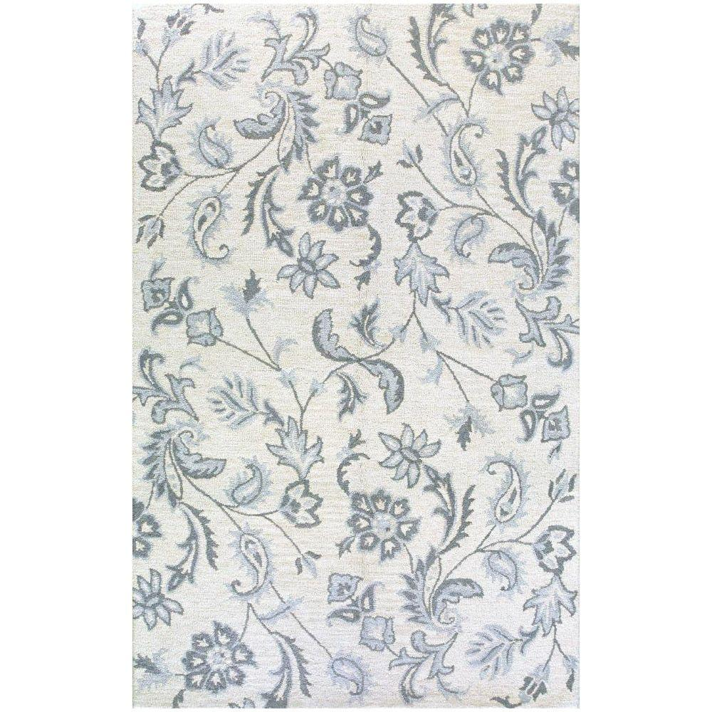 BASHIAN Valencia Collection Tranquility Ivory 3 ft. 6 in. x 5 ft. 6 in. Area Rug