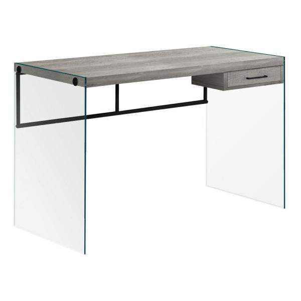 Jasmine 1-Piece Grey, Black and Clear Computer Desk