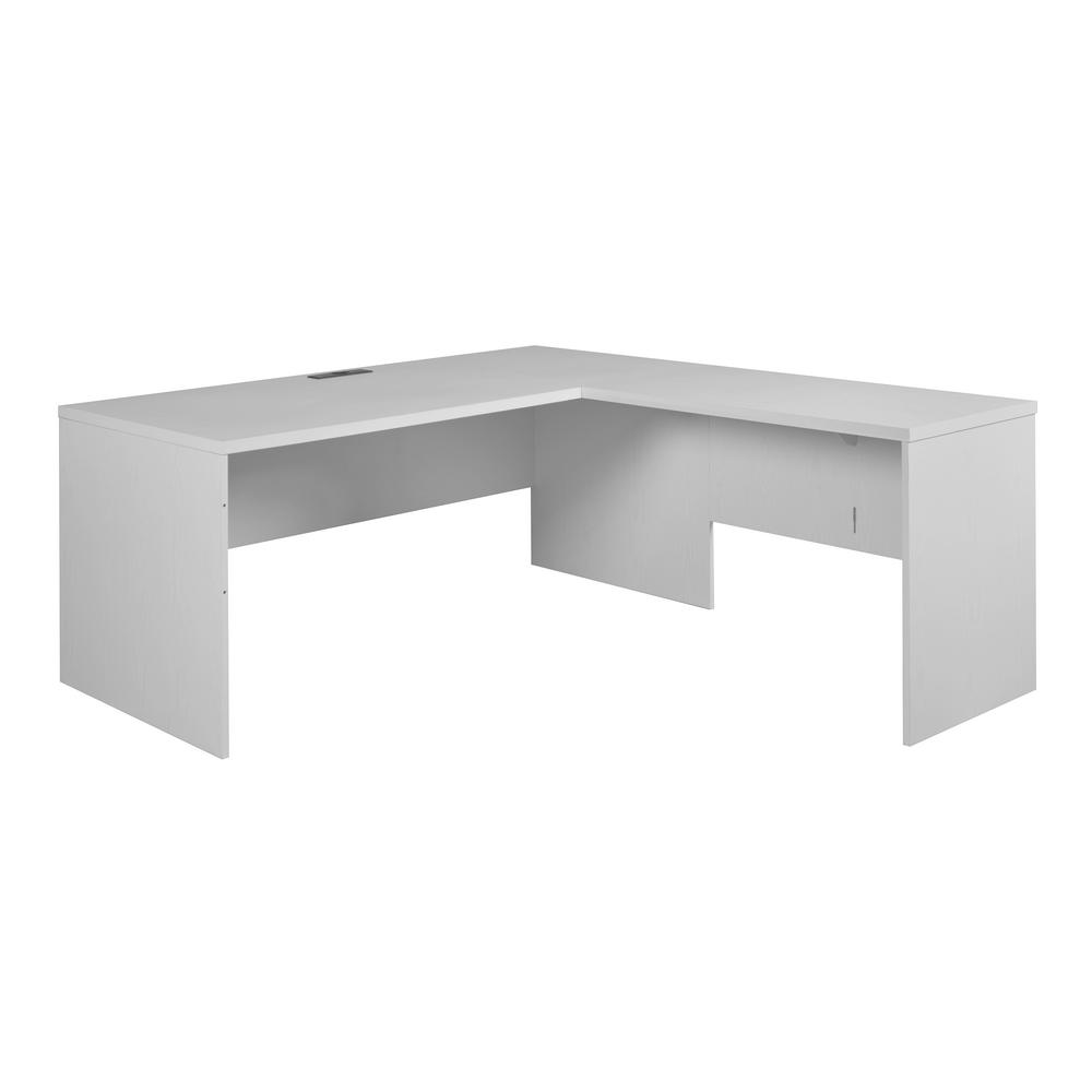 Niche Mod White Wood Grain L Desk S With No Tools Assembly