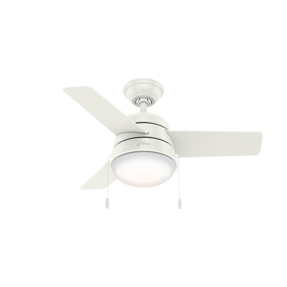 Hunter Aker 36 in. LED Indoor Fresh White Ceiling Fan with Light ...