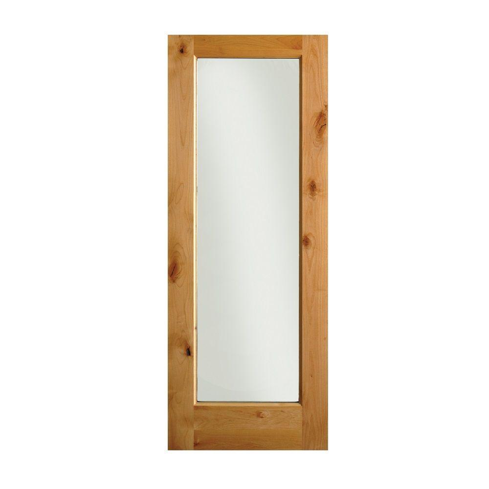 28 in. x 80 in. Rustic Knotty Alder 1-Lite Wood Stainable