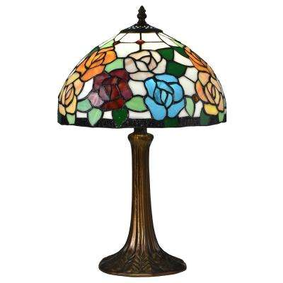 19.5 East Cape Antique Bronze Table Lamp with Tiffany Art Glass Shade