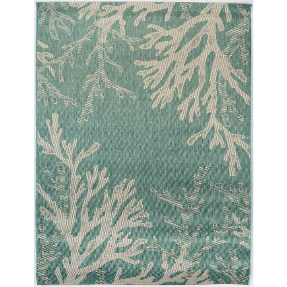 Hampton Bay Sea Coral Teal 7 Ft. 10 In. X 9 Ft. 10 In
