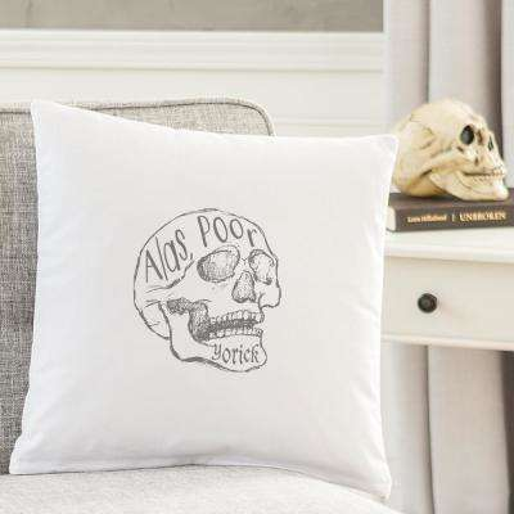 Alas Poor Yorick 16 in. L x 16 in. W Halloween Throw Pillow
