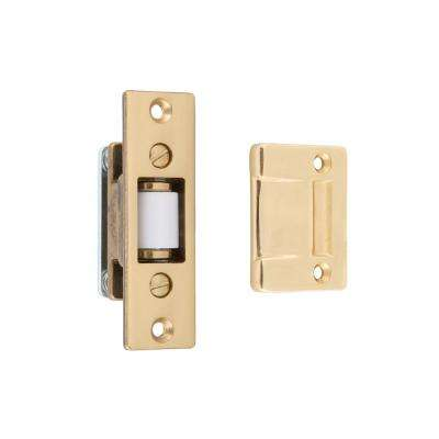 Solid Brass Heavy-Duty Silent Roller Latch with Square Strike Adjustable in Polished Brass