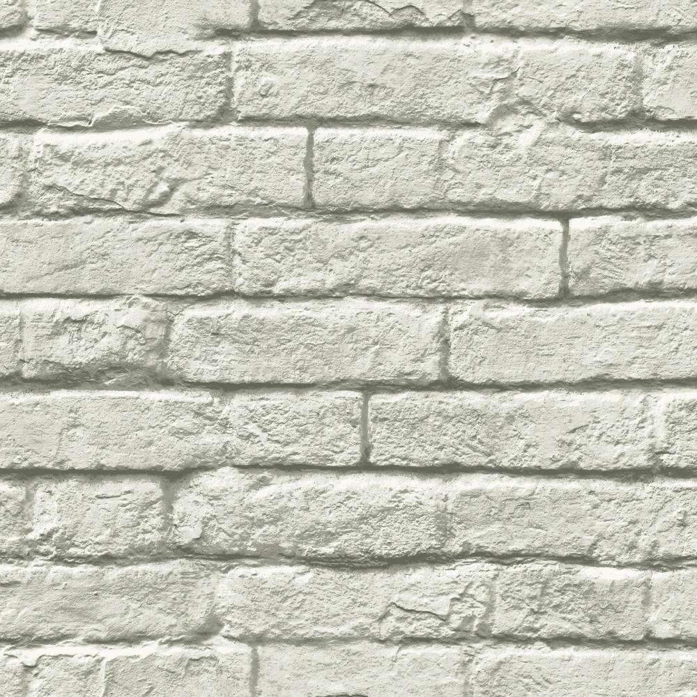56 sq. ft. Brick and Mortar Removable Wallpaper