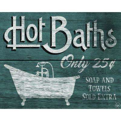 """16 in. x 20 in. """"Hot Baths Teal"""" Planked Wood Wall Art Print"""