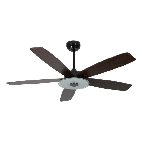 Striker 56 in. Integrated LED Indoor Black Smart Ceiling Fan with Light Kit works with Google and Alexa