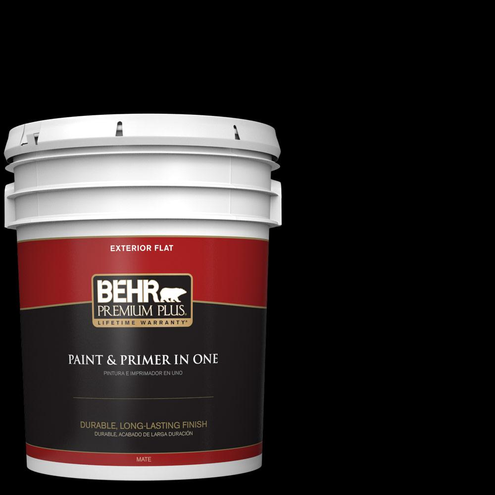 5 gal. Black Flat Exterior Paint and Primer in One