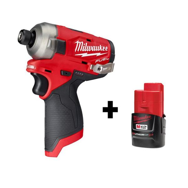 M12 FUEL SURGE 12-Volt 1/4 in. Lithium-Ion Brushless Cordless Hex Impact Driver with Free M12 2.0Ah Battery