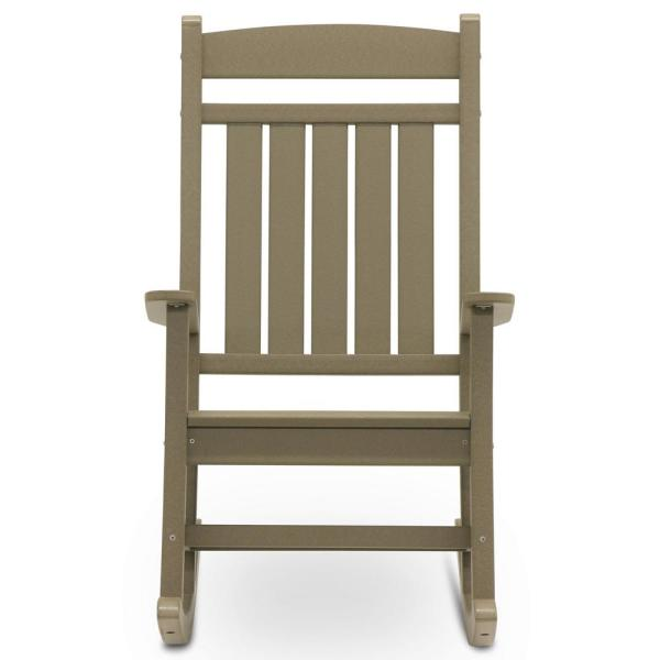 Classic Rocker Weathered Wood Plastic Outdoor Rocking Chair
