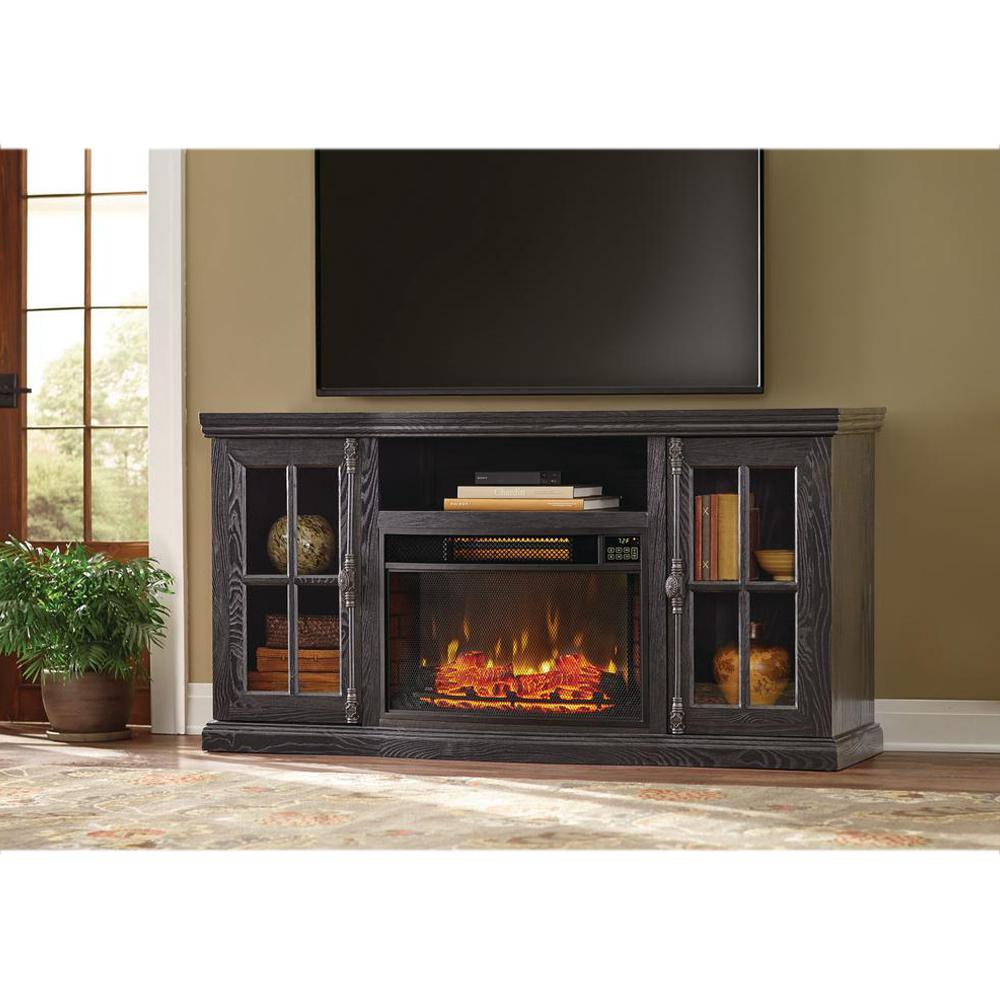 Manor Place 67 In TV Stand Bluetooth Electric Fireplace Black