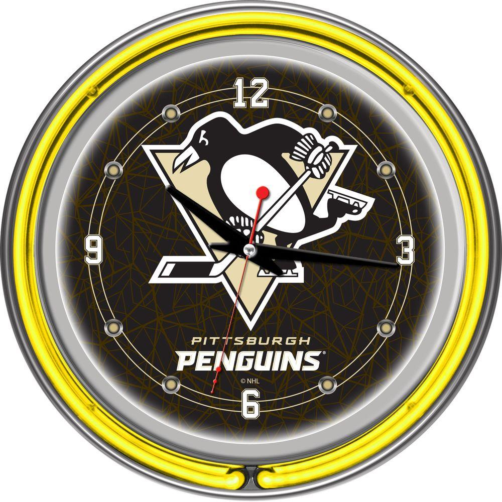 Trademark 14 in. Pittsburgh Penguins NHL Neon Wall Clock