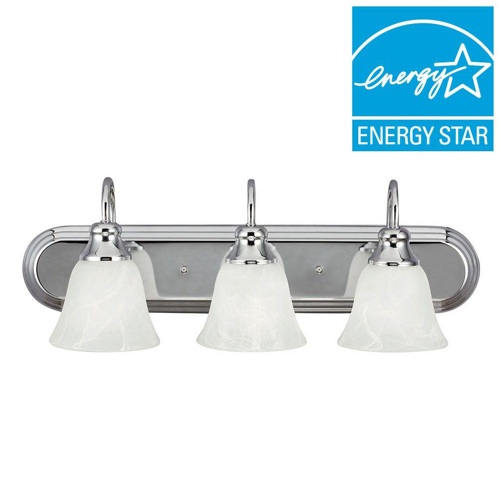 Sea Gull Lighting Windgate 3-Light Chrome Wall/Bath Light with Alabaster Glass Shades
