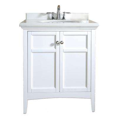Campo 30 In Vanity White Lacquer With Granite Top