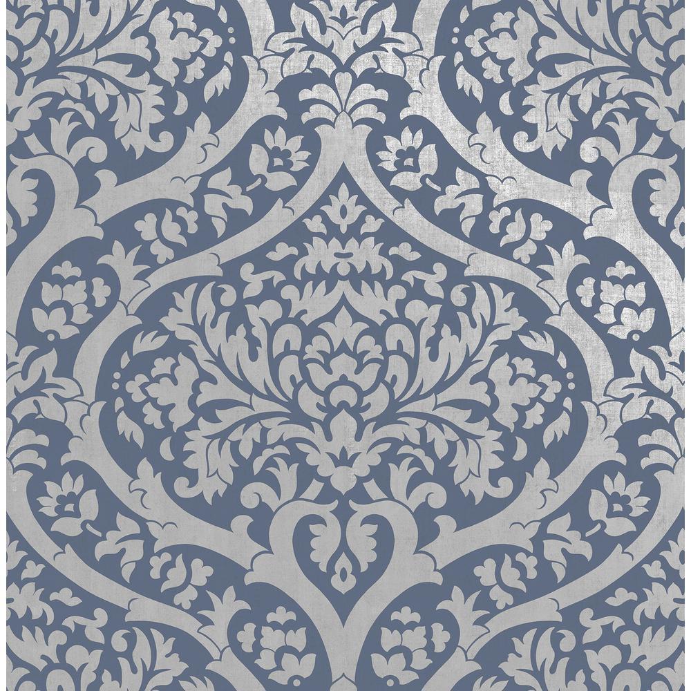 Sandringham Blue Damask Wallpaper Sample