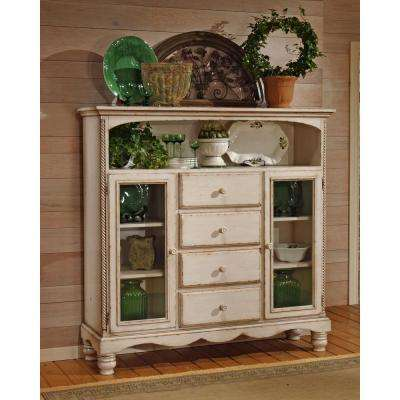 Assembled 63.625 in. W x 61 in. H x 18 in. D Wilshire Wood Four-Drawer Baker's Cabinet in Antique White