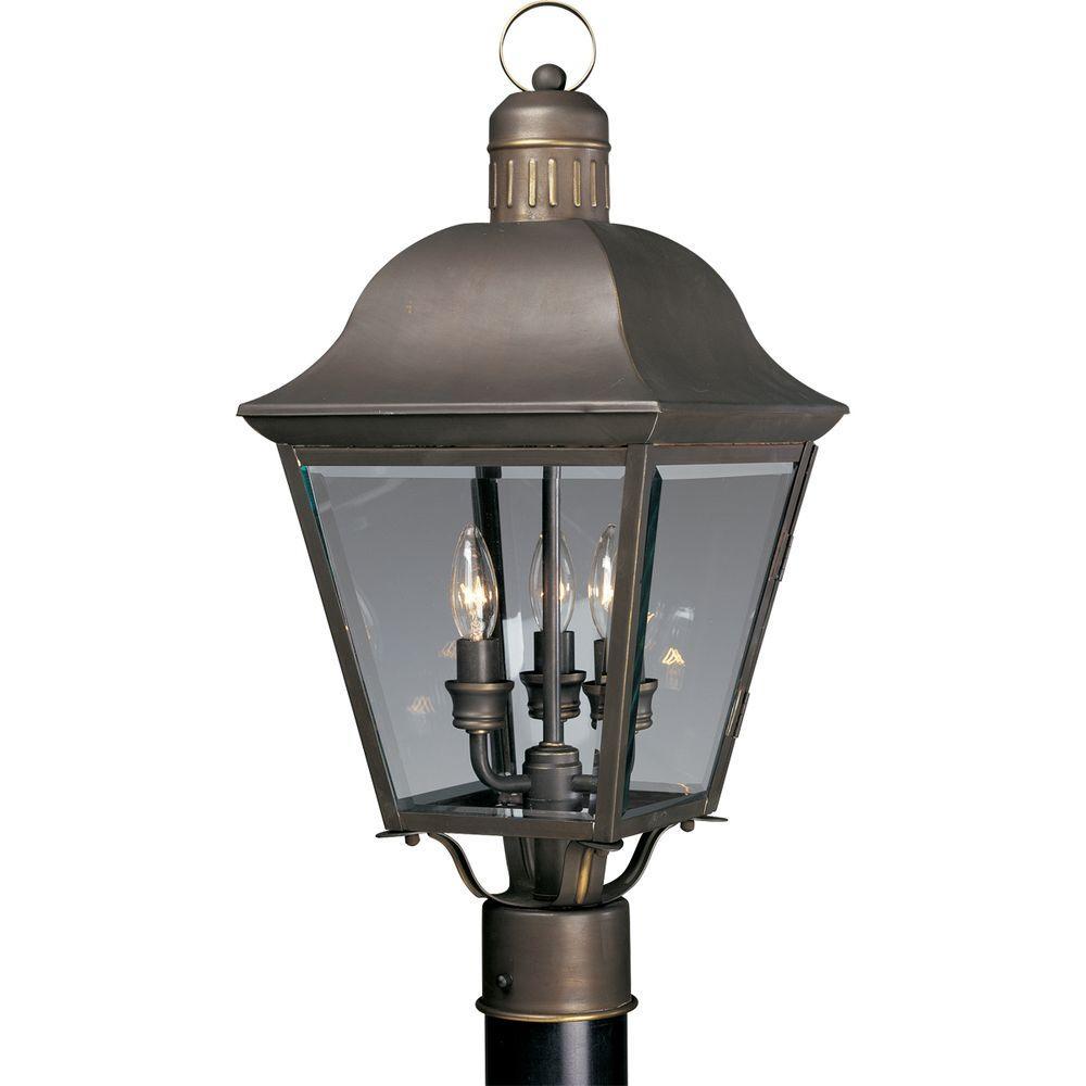 Andover Collection 3-Light Antique Bronze Outdoor Post Lantern