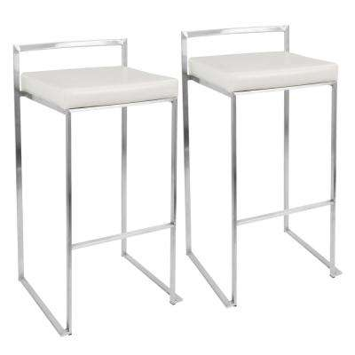 Fuji White Stackable Barstool (Set of 2)