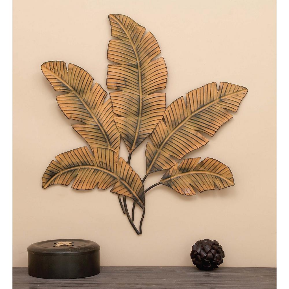 34 in. x 35 in. Iron Palm Leaves Wall Decor-97920 - The Home Depot