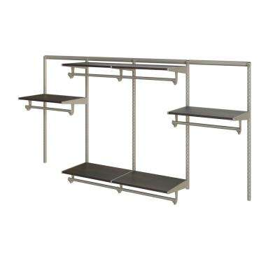 Closet Culture 16 in. D x 96 in. W x 48 in. H Steel Closet System with 6 Espresso Wood Shelves