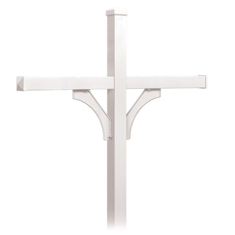 Salsbury Industries Deluxe 2-Sided In-Ground Mounted Post for 4 Roadside Mailboxes, White