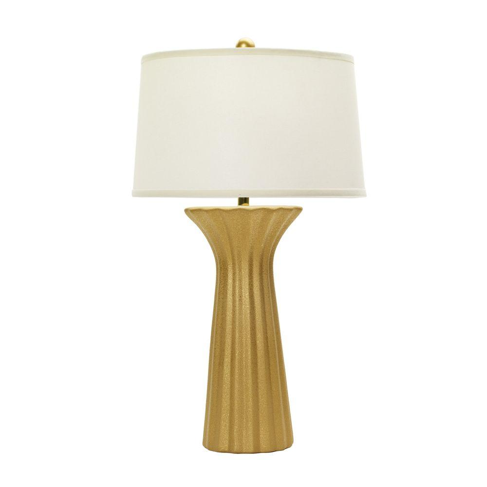 29 in. Textured Gold Ceramic Table Lamp with Ripple Design