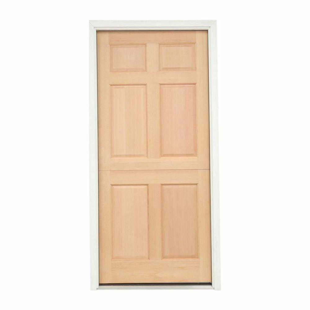 . JELD WEN 32 in  x 80 in  6 Panel Unfinished Dutch Right Hand Inswing Wood  Prehung Front Door w Brickmould