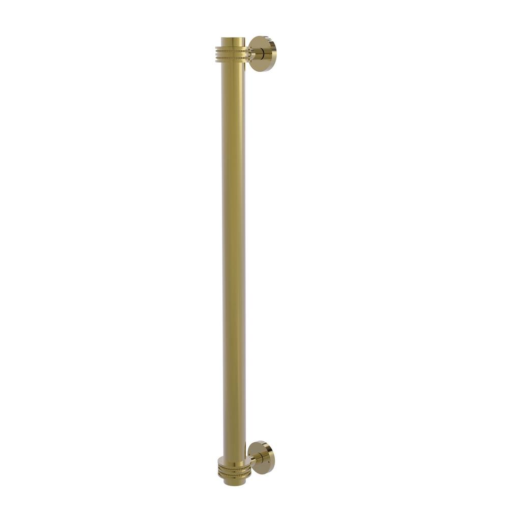 Allied Brass 18 in. Center-to-Center Refrigerator Pull with Dotted Aents in Unlacquered Brass Transform your kitchen with this elegant Refrigerator and Appliance Pull. This pull is designed for replacing the pulls or handles on your built-in refrigerator, freezer or any other built in appliance. Appliance pull is made of solid brass and provided with a lifetime finish to insure products will provide a lifetime of service.