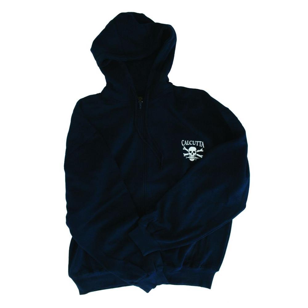 Men's Medium Two Pocket Hooded Full Zip Sweatshirt in Blue