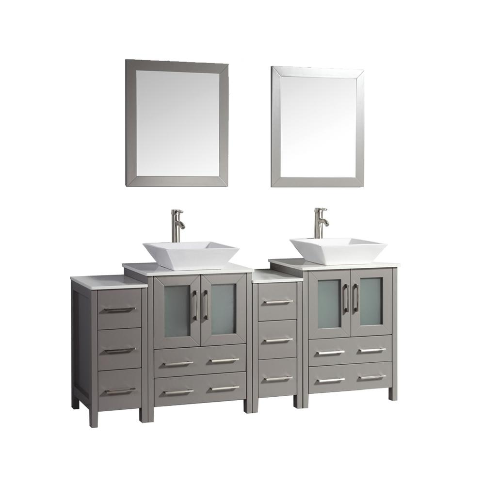Vanity Art Ravenna 72 in. W x 18.5 in. D x 36 in. H Bathroom Vanity in Grey with Double Basin Top in White Ceramic and Mirrors