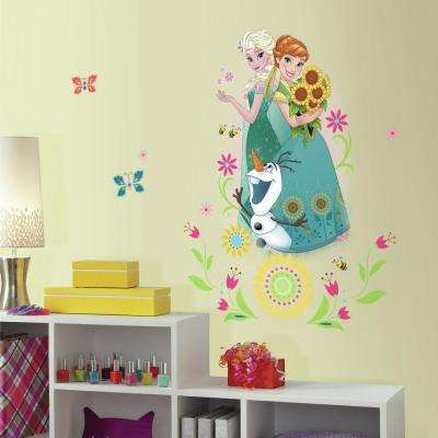 2.5 in. W x 21 in. H Disney Frozen Fever Group 6-Piece Peel and Stick Giant Wall Graphic