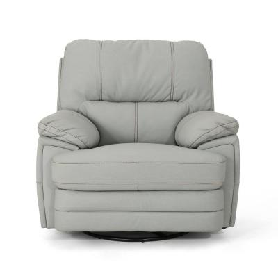 Elodie Light Gray Leather Swivel Power Recliner