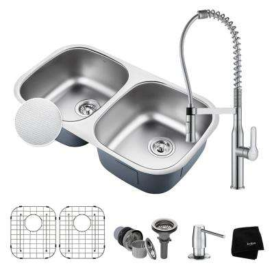 Outlast All-in-One Undermount Stainless Steel 32 in. 50/50 Double Bowl Kitchen Sink with Faucet in Chrome