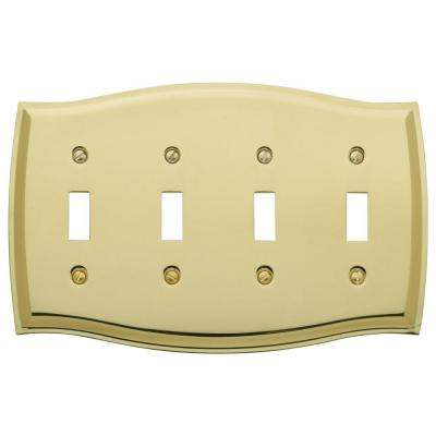 Colonial 4 Toggle Wall Plate - Polished Brass