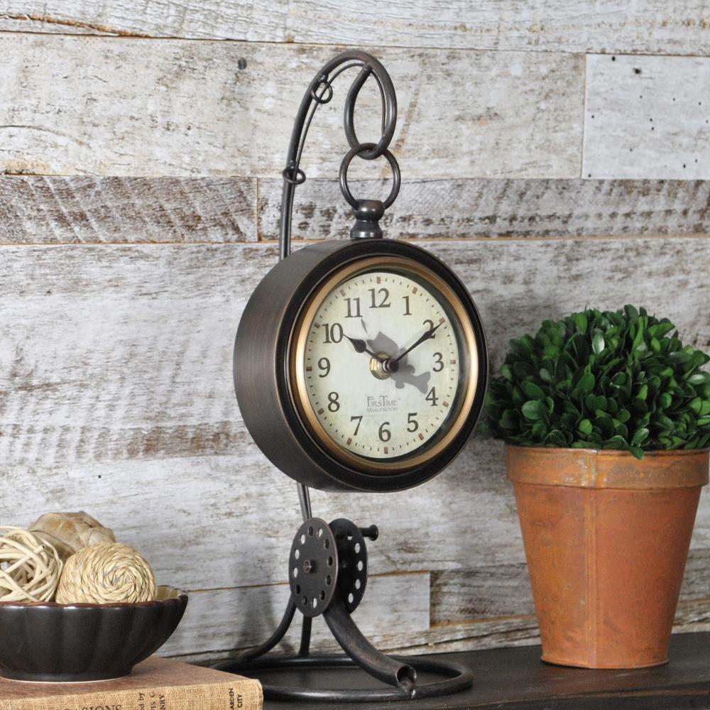 13 in. Fishing Rod Tabletop Clock