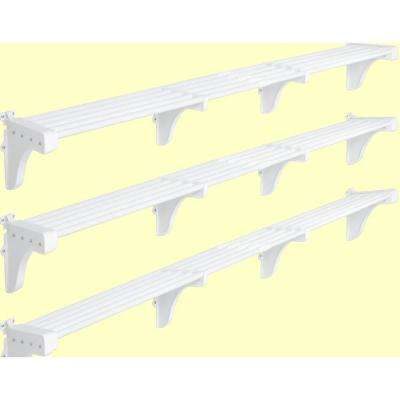 40 in. - 75 in. Expandable Garage Shelf in White (Set of 3)