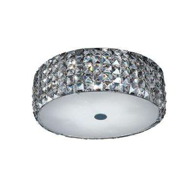 14 in. 5-Light Chrome Flushmount with Glass Accents