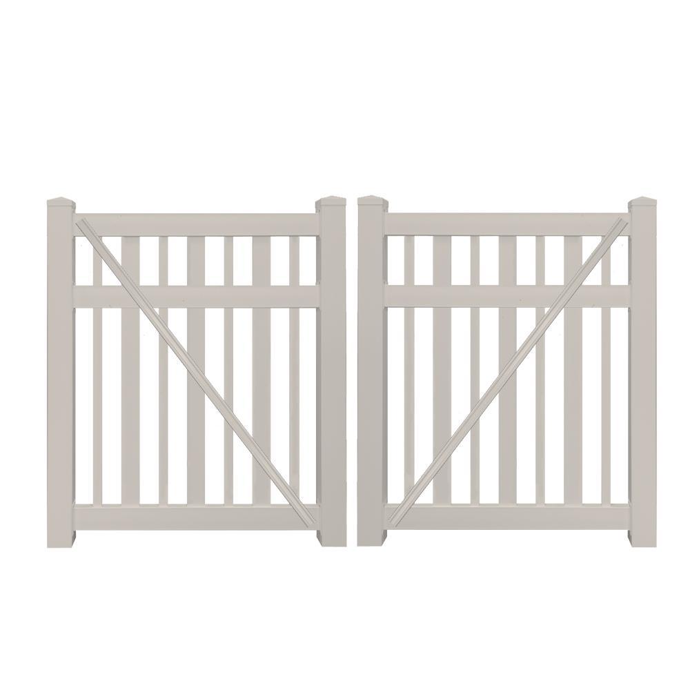 Atlantis 9 ft. W x 5 ft. H Tan Vinyl Pool Fence Double Gate