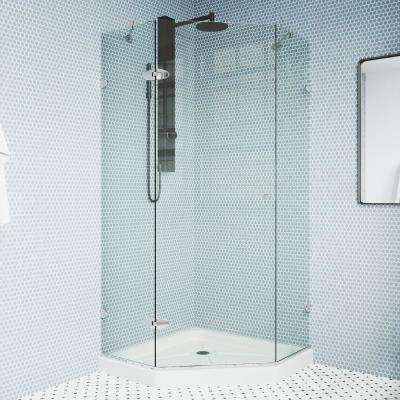 Verona 38.125 in. x 76.75 in. Frameless Neo-Angle Shower Enclosure in Chrome with Clear Glass and Low-Profile Base