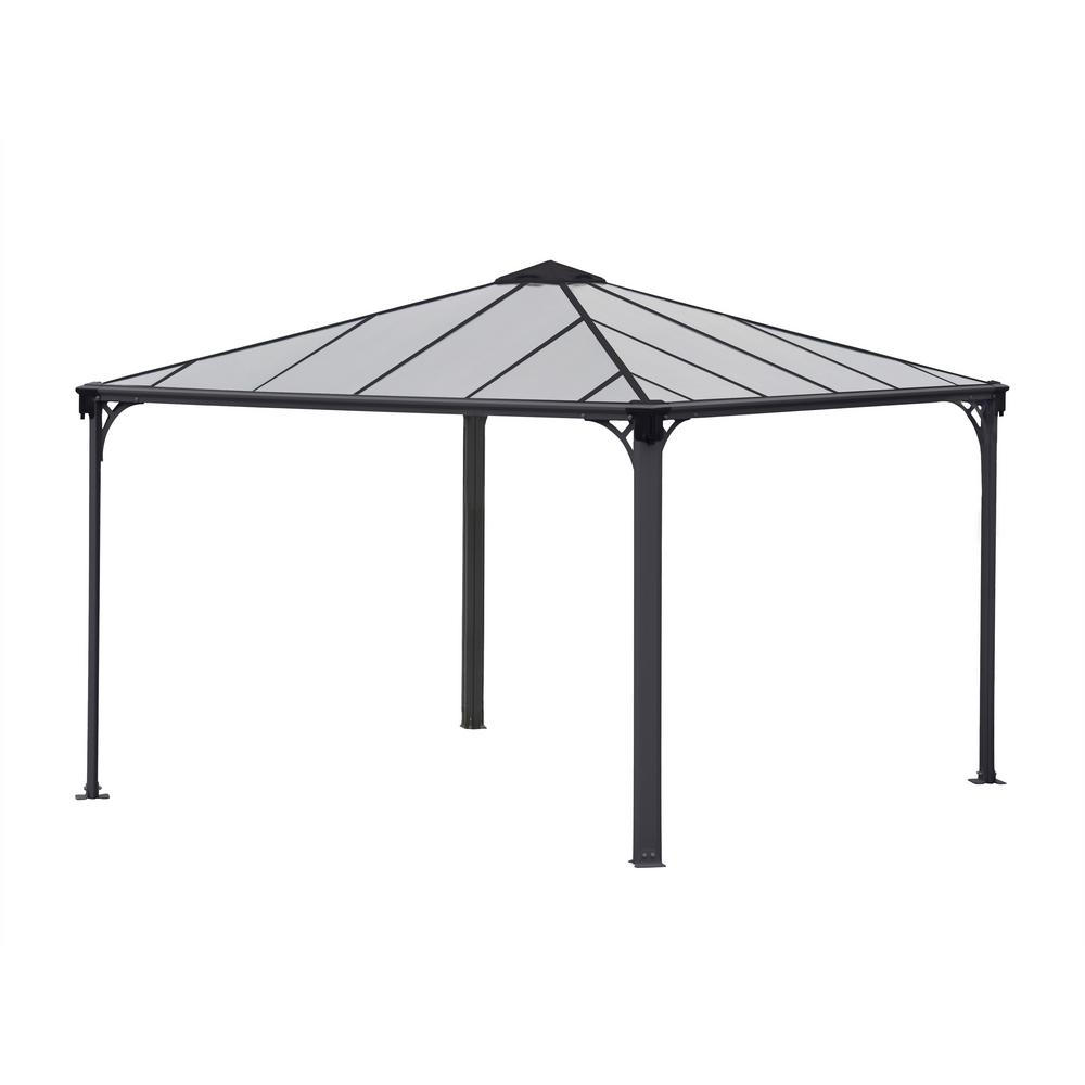 Palram Palermo Aluminum Frame And Hard Top Gazebo The Home Depot