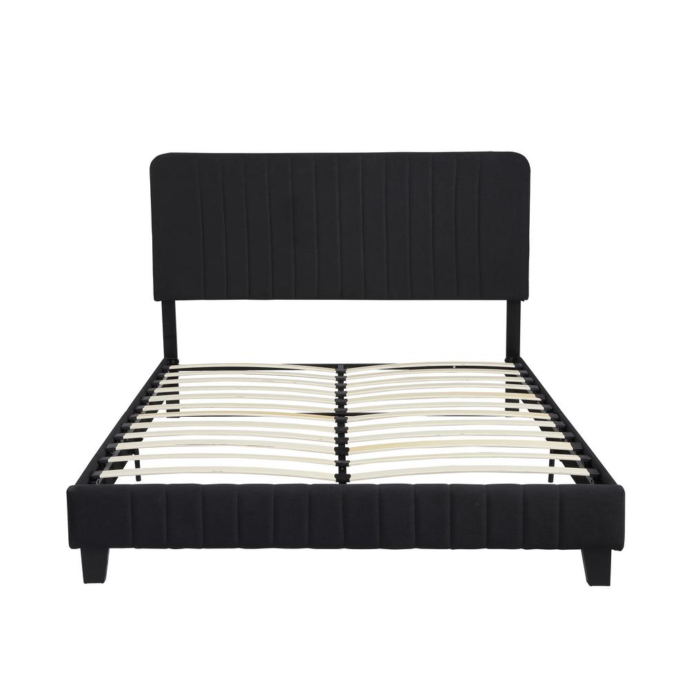 NobleHouse Noble House Bradbury Contemporary Queen-Size Black Fully Upholstered Bed Frame