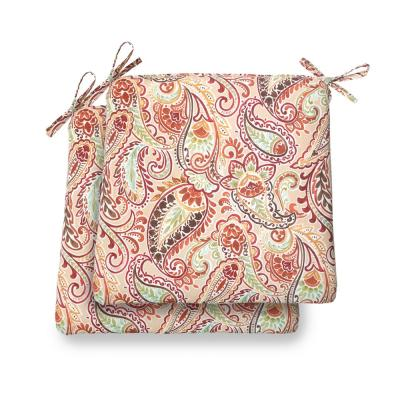 Hampton Bay 20 in. x 19 in. x 3.5 in. Chili Paisley Square Outdoor Seat Cushion (2 Pack)