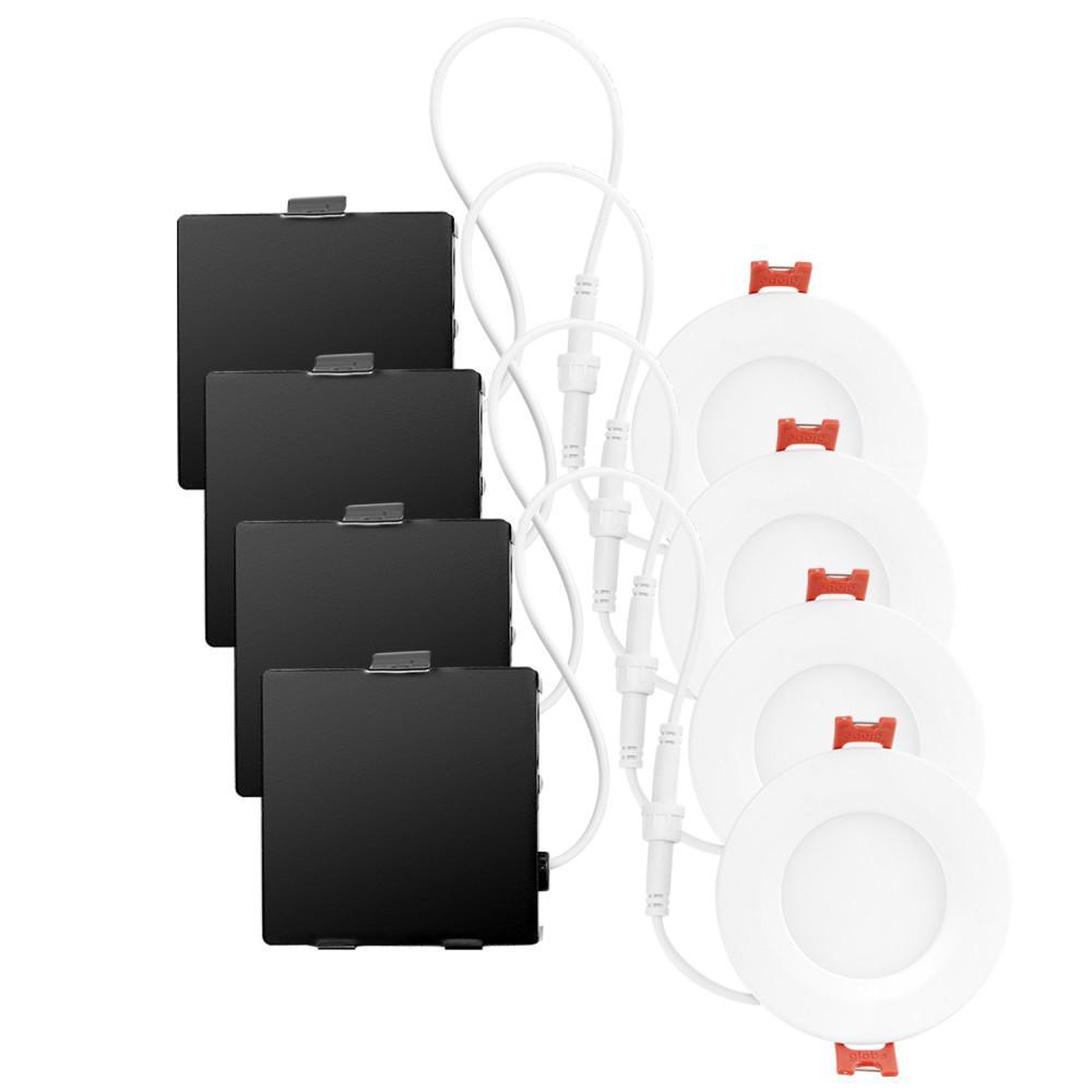 Ultra Slim Designer Series 3.25 in. White Integrated LED Recessed Kit (4-Pack)