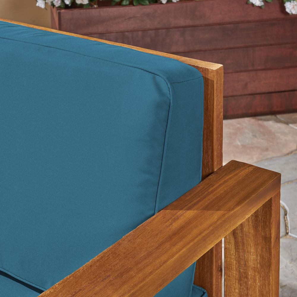 Noble House Devon Brushed Brown Patina Wood Outdoor Lounge Chairs with Dark  Teal Cushions (2-Pack)