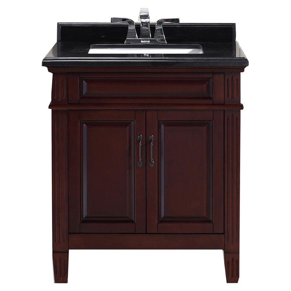 Cn 30 In Vanity Chocolate With Granite Top Black
