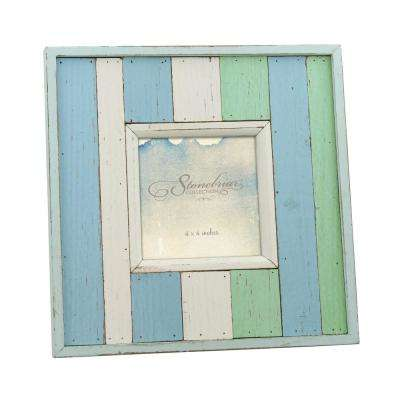 4 in. x  4in. Worn Blue and White Painted Wood Picture Frame